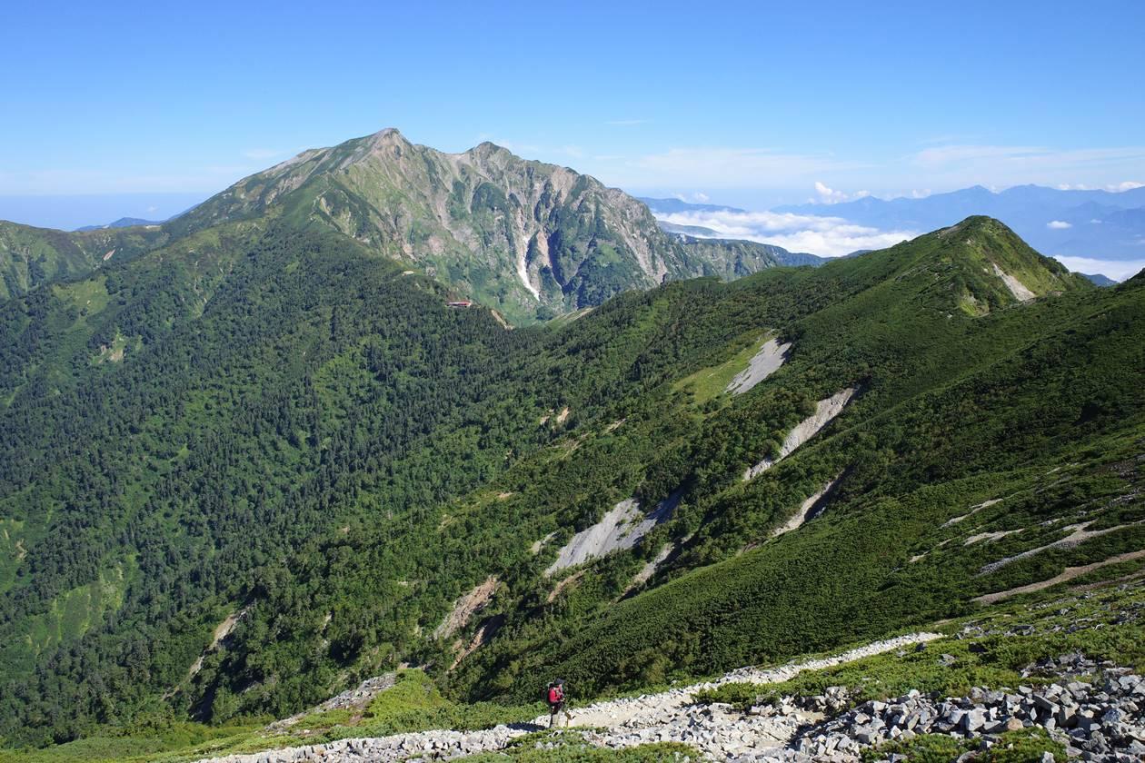 爺ヶ岳山頂から眺める鹿島槍ヶ岳