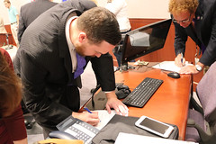 Rep. Davis signs a petition to call the General Assembly into Special Session to undo the grocery tax passed as part of the Democrat budget.