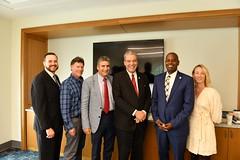 Hartford area state legislators meet with President Tom Kasouleas at the Hartford campus on Sept. 13, 2019. (Peter Morenus/UConn Photo)