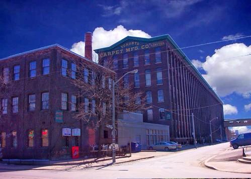 toronto carpet mfg co manufacturing vintage photo onasill liberty village landmark architecture victorian factory clouds sky sunset canada ontario king street sunrise
