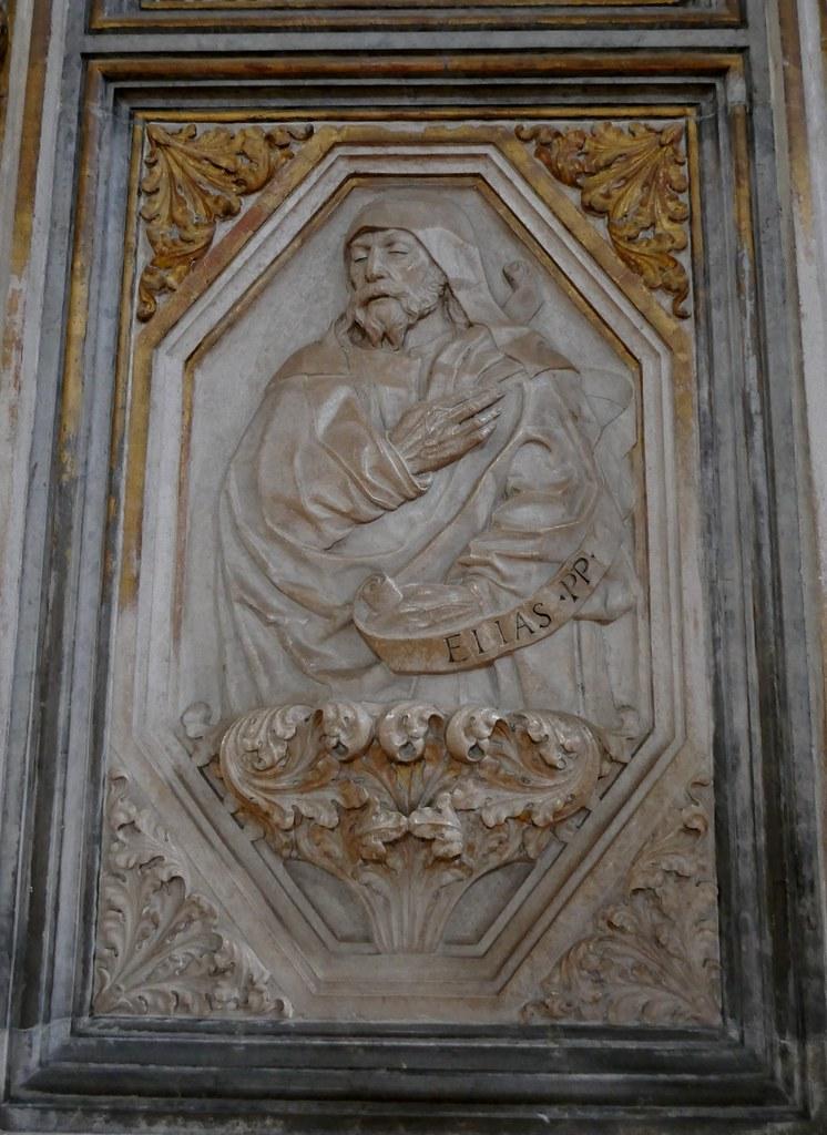 Elie, panneau de la clôture du chœur, basilique Santa Maria Gloriosa dei Frari, campo dei Frari, sestiere de San Polo, Venise, Vénétie, Italie.