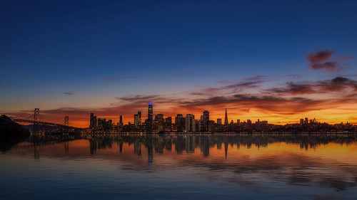 sanfrancisco sunset skyline reflection water landscape cityscape