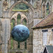 Rievaulx Abbey, with the temporary installation Museum of the Moon, by Luke Jerram