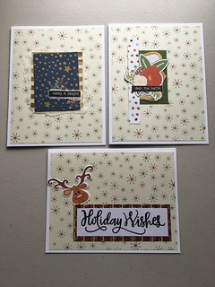 Simple Christmas cards - using scraps on cream snowflake paper | by jo.blackford