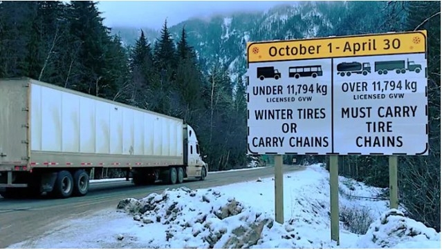 Commercial truckers will now face higher fines for not carrying chains when required, as well as not installing them during mandatory chain ups on B.C. highways.