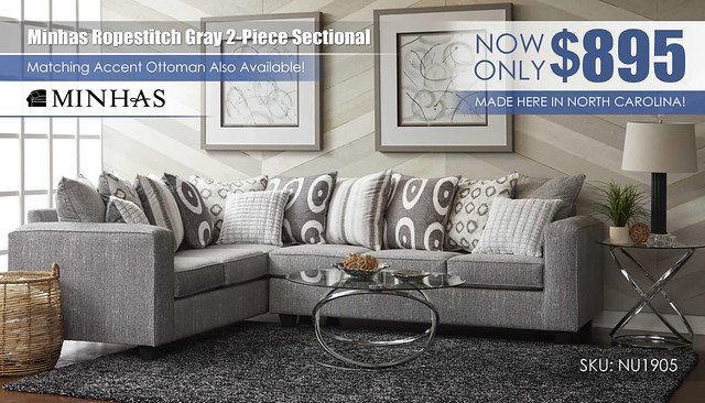 Minhas Ropestitch Gray 2-Piece Sectional_NU_1905