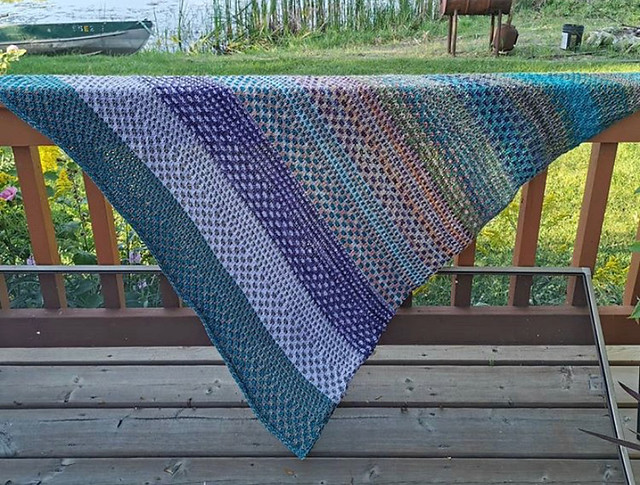 Paulette finished her Nightshift shawl by Andrea Mowry! She had avoided starting the pattern only to become totally addicted once I got started!