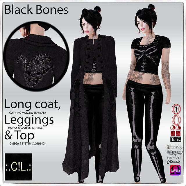 :.C!L.: Black Bones Long Leather Coat, Leggings & Top Set Poster