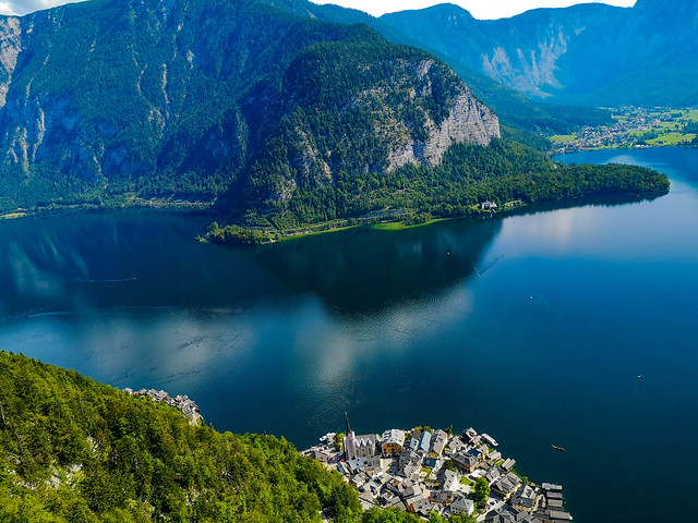 The UNESCO World Heritage town of Hallstatt with the Lake Hallstatt and mountainss shot high up on the World Heritage Skywalk.