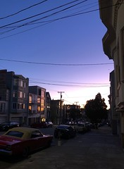 Sunset on a city street