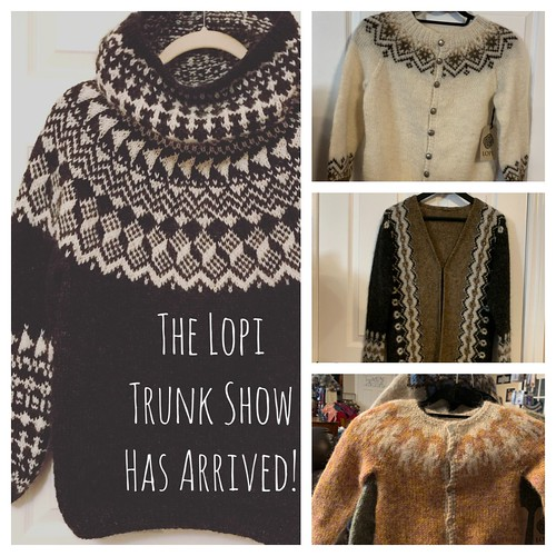 So excited to have the Lopi Trunk Show here! A big thank you rob Berroco for lending us these beautiful sweaters. Come in and check them out in person over the next couple of weeks!