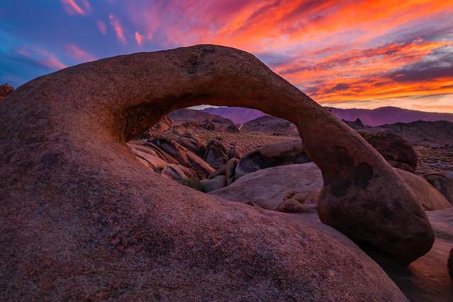 A Mobius Arch Sunrise. Alabama Hills Near Lone Pine, California