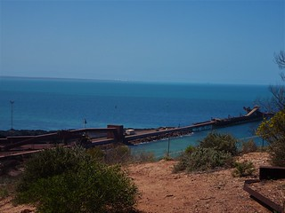 Whyalla. The old iron ore loading jetty at the Whaylla steel works. In the distance the fuel storage tanks at Point Lowly on Specners Gulf.