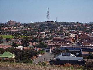 Whyalla.  View of the main street and old part of the town from the Hummock Hill Lookout. Most buildings are built in local red iron stone especially in the Main Street on the right of the photograph.