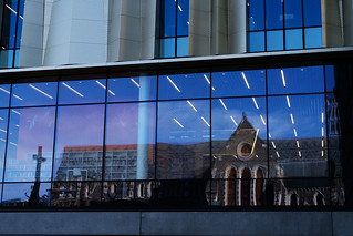Old and new - the wrecked cathedral in the windows of the new library