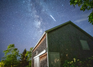 ...and the International Space Station just photobombed my night shot of our barn ;) - Tenants Harbor Maine