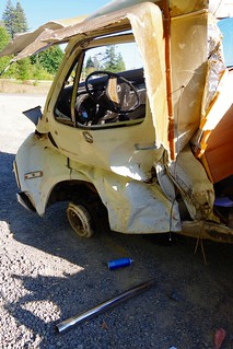 Wrecked Yellow Dodge Camper Probably Not Going to Be Fixed