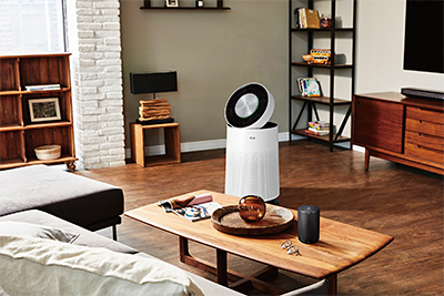 The new LG PuriCare Air Purifier (AS60GDWV0) features 360-degree purification capability and a 6-step filtration system.