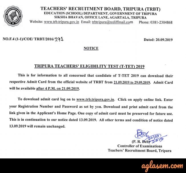 Tripura TET admit card notice