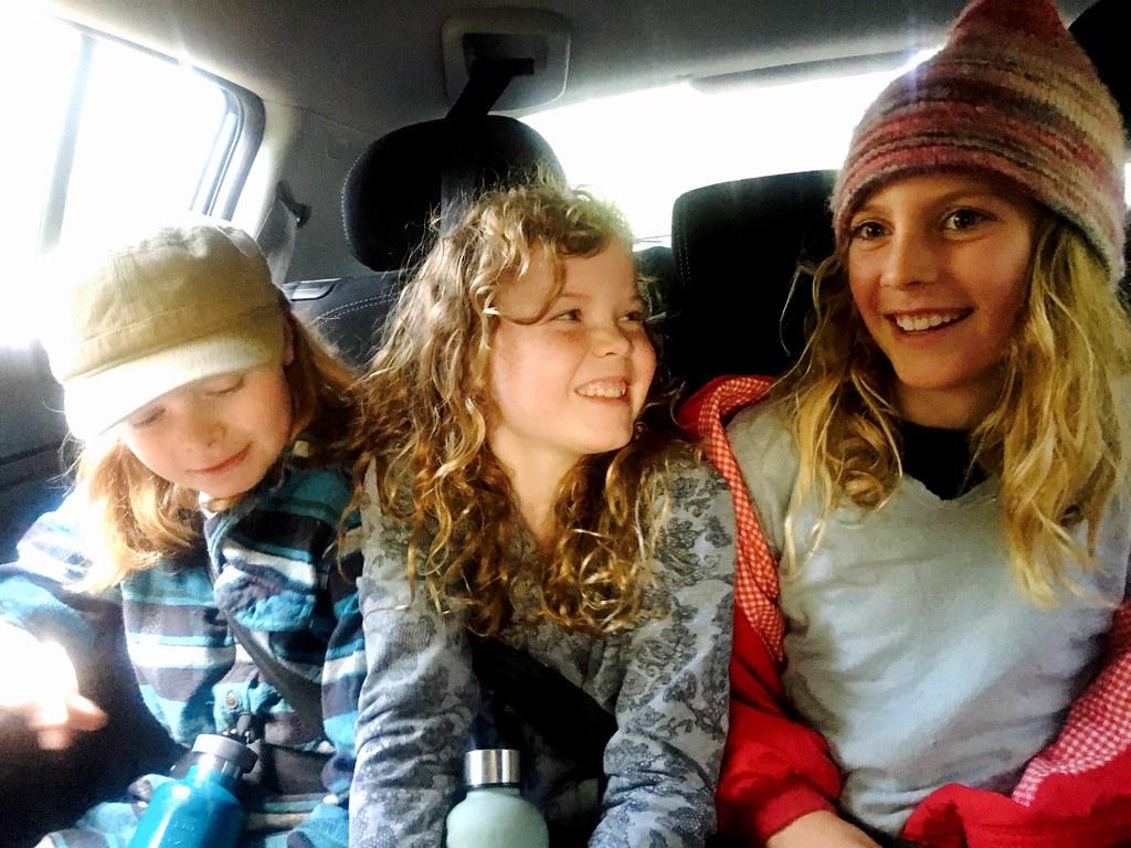 Elijah, Olivia and DB. Backseat.