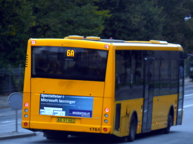 One of less than 20 Copenhagen Movia route contracted buses under 12m long seen on intergarage loan on route 13.7m specified 6A  - 10m long VDL ARRIVA 1761 at  dusk