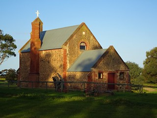 Poonindie Anglican Church near Port Lincoln. This was built as the school room for the Anglican Aboriginal Mission. It was erected in 1854. The Mission closed in 1894 and this bulding became the local Anglican Church.