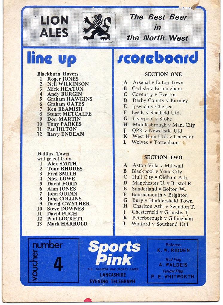 21-09-1974 Blackburn Rovers 1-0 Halifax Town 2 (1)