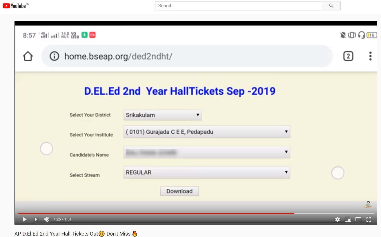 AP D.Ed / D.El.Ed 2nd Year Hall Tickets Download Link, Revised Time Table Shared On Social Media