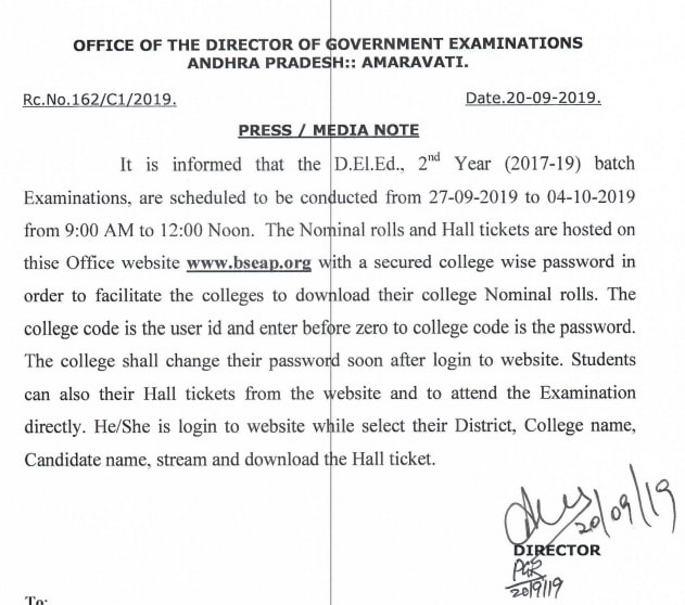 AP DEd 2nd Year Hall Tickets released; Know how to download at bseap.org