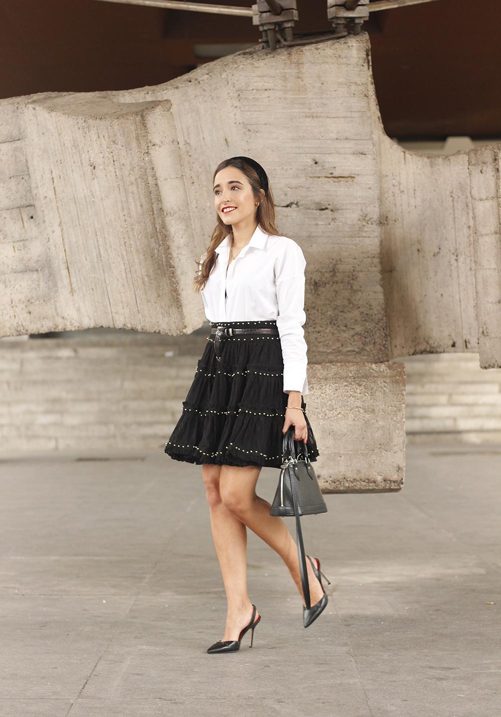 bandeau très preppy falda negra louis vuitton sac style de la rue outfit7