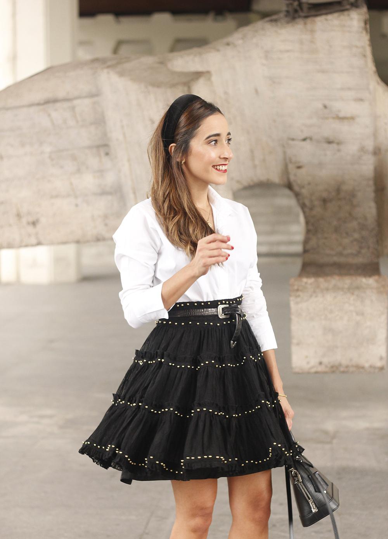 bandeau haut preppy falda negra louis vuitton sac tenue de rue style13