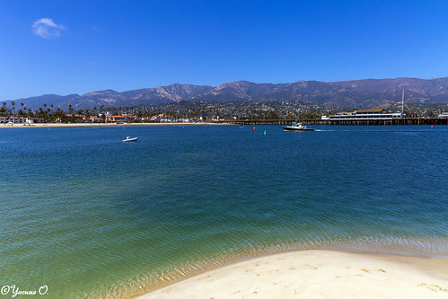 santabarbara highway1 california seaside seascape landscape ocean pier beach mountains