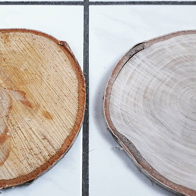 Before and after sanding this slice of birch wood. When finished it wull hold the weddingrings. #DIY #makingstuff #yearofmaking2019 #wood #naturalmaterials #birchwood #ringholder #selfmade #workinprogress