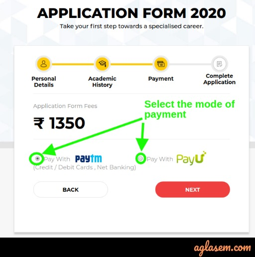 UPESMET 2020 payment options