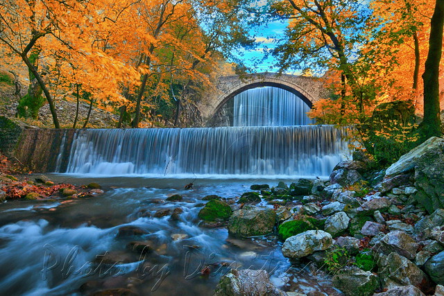 Palaiokarya's stone bridge and falls