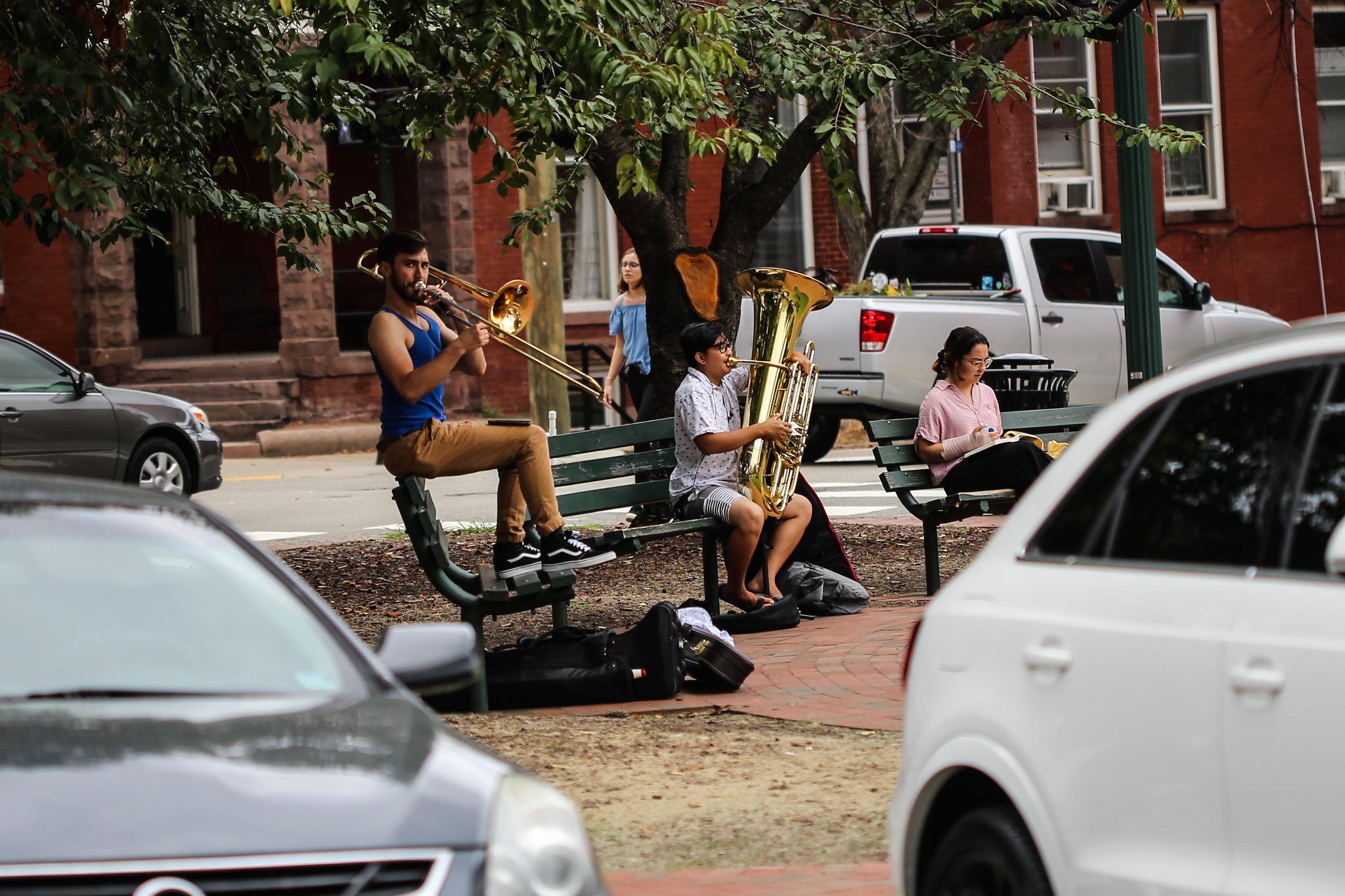 VCU brass practice in the park