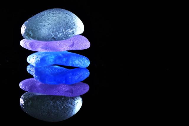 Sea glass in cold colours