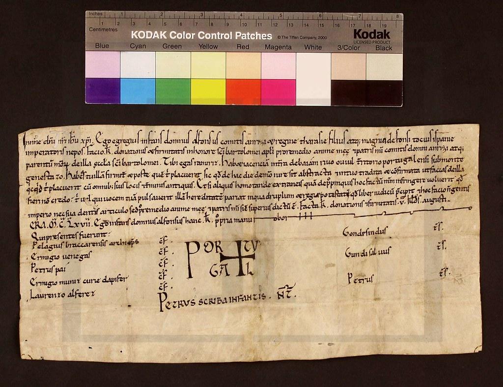 Imagem XVII - Um fólio da Carta de doação pelo Infante D. Afonso Henriques a Egas Ramires