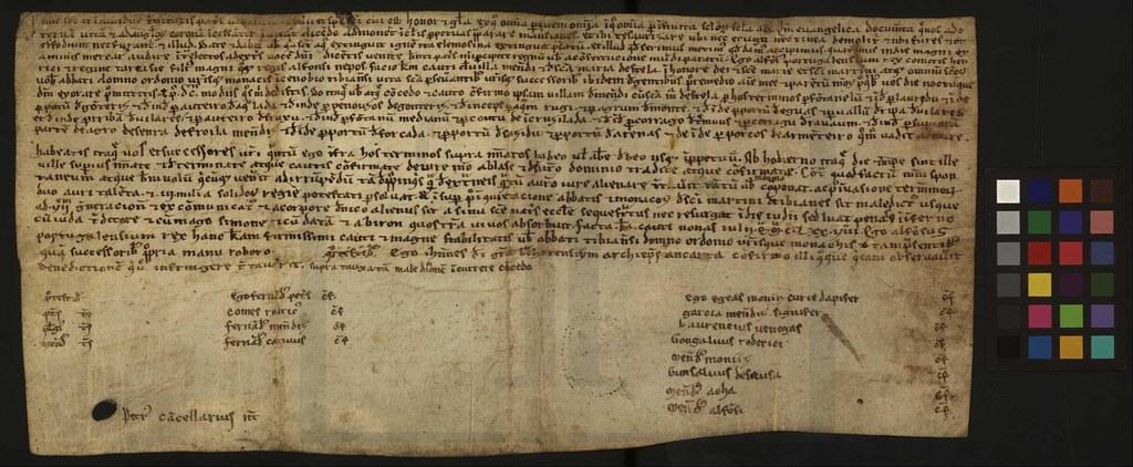 Imagem XVI - Um fólio da Carta de couto de Vila Menendi e Santa Maria de Estela a favor do Mosteiro de Tibães