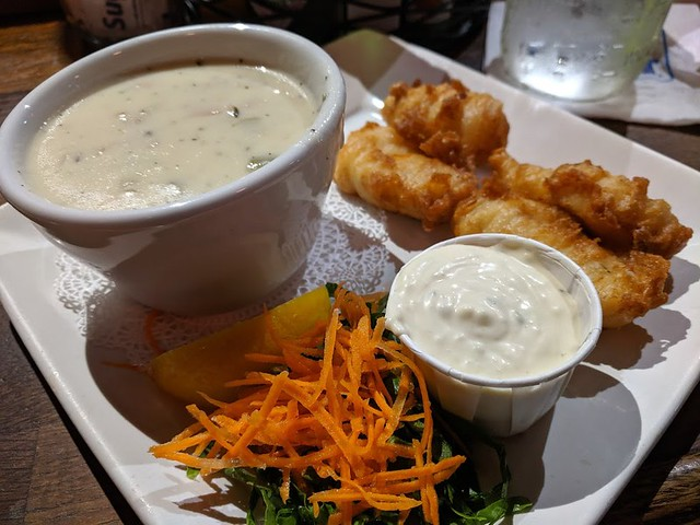 F Street Bar fried halibut and chowder