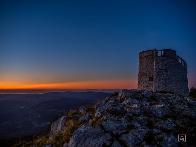 Stone tower sunset