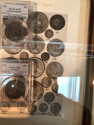 Parmelee plate with coins