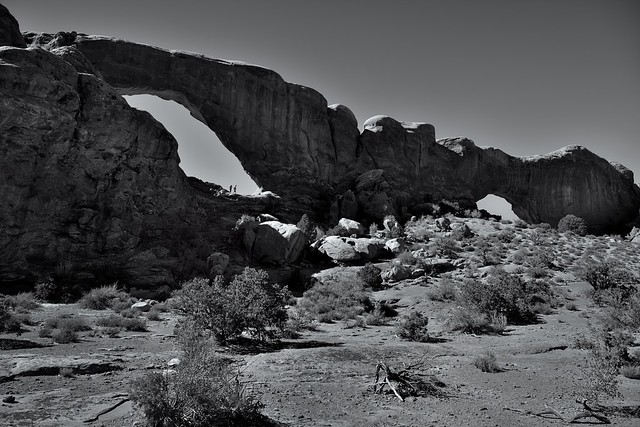 Windows South and North (Black & White, Arches National Park)