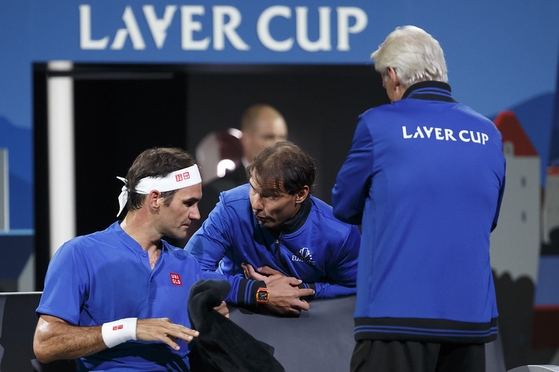 Roger Federer(左)Rafael Nadal(中)。(達志影項)