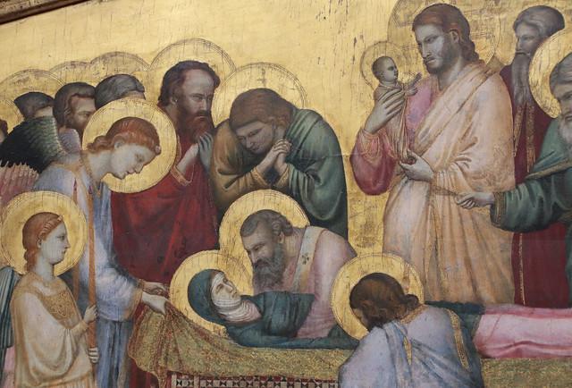 Giotto (1267 circa – 8 gennaio 1337 ) - Dormitio Virginis (o il Transito della Vergine o la Morte di Maria) (1312-1314 circa) -Tecnica: tempera e oro su tavola - dimensioni: 74,7×173,4 cm - Gemäldegalerie, Berlino