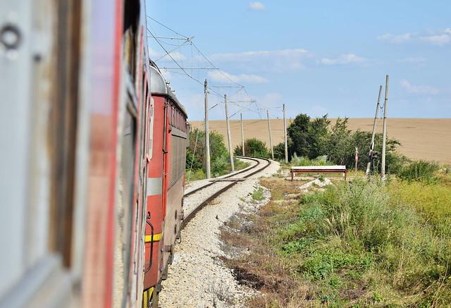 Summer trip by Bulgarian train BDZ to Varna near Black sea