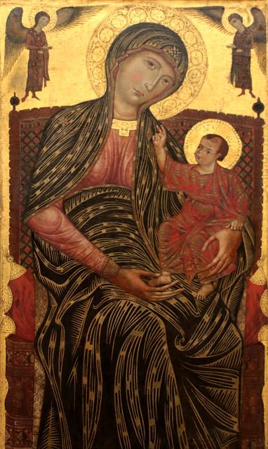 Meister der Heilingen Magdalena (attivo in Toscana verso la fine del XIII secolo) - Maria in trono con Bambino e due angeli (Thronende Maria mit dem tipo und Zwei Engeln circa 1270) - Gemäldegalerie, Berlin