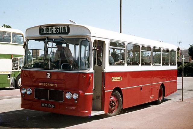 G W Osborne , Tollesbury , Essex . 14 XEV186F . Colchester Bus Park , Colchester , Essex . June-1969 .