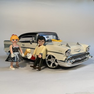 Peggy Sue and Charlie with their new Chevy Bel Air