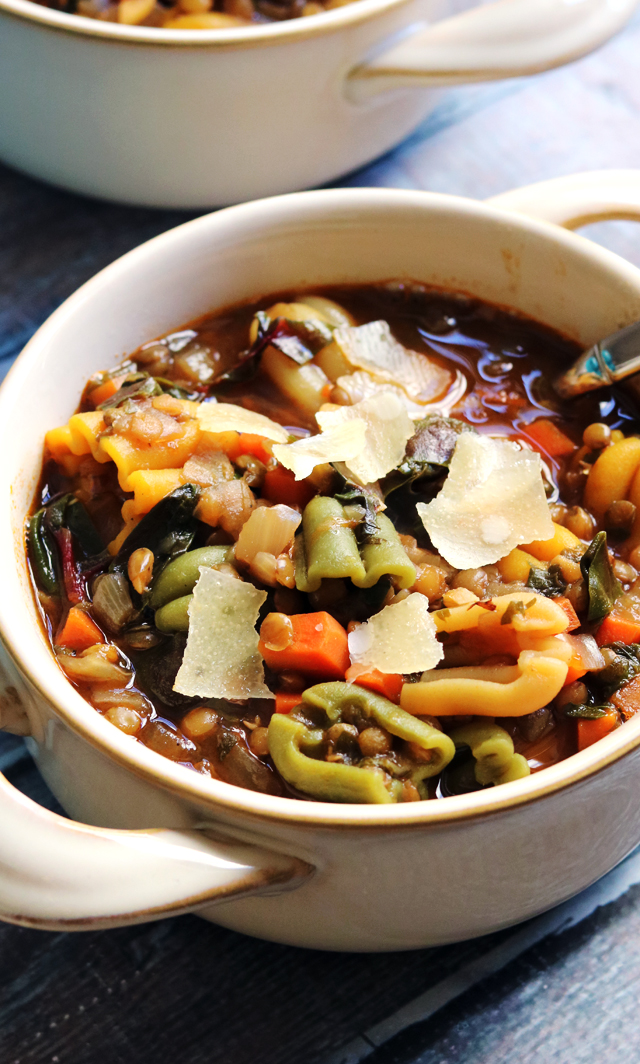 Super Cozy Vegetarian Lentil Minestrone
